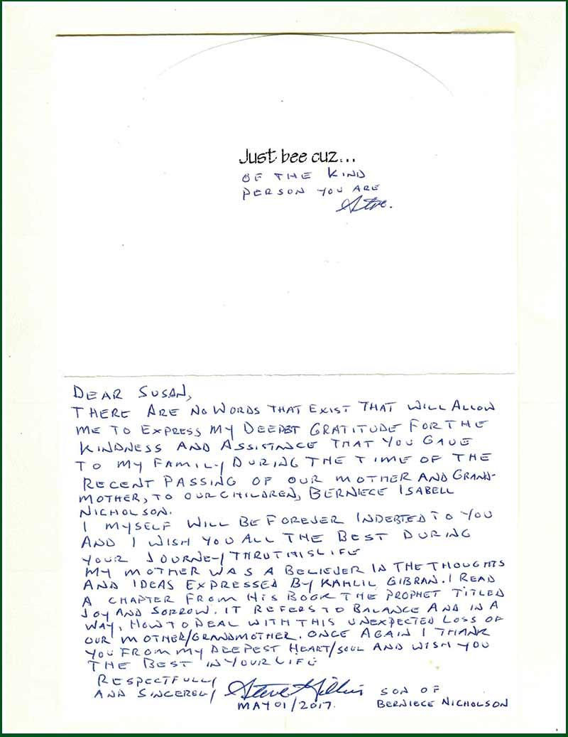 Martin Funeral – Testimonials – Berniece Nicholson