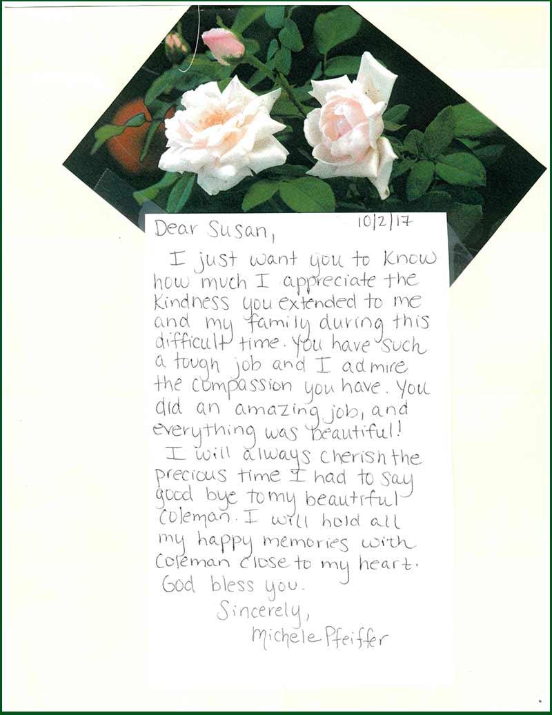 Martin Funeral – Testimonials – Michele Pfeiffer